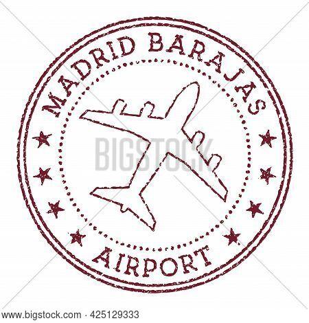 Madrid Barajas Airport Stamp. Airport Of Madrid Round Logo. Vector Illustration.