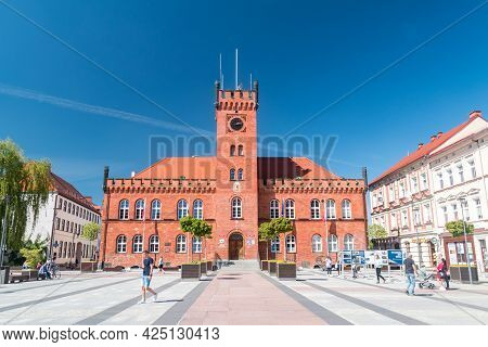 Szczecinek, Poland - May 31, 2021: Town Hall At The Marketplace At Summer Time.