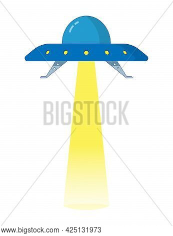 Ufo Flying Saucer With Glass Dome And Spotlight Beam. Colored Isolated Illustration In Cartoon Style