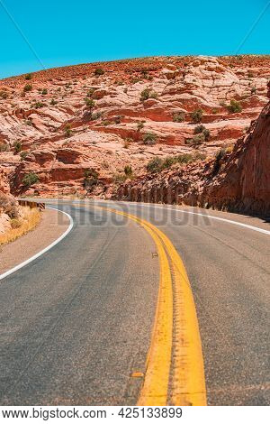 Asphalt Texture, Way Background. Highway Road And Sky Landscape. Open Road Through The Mountains, Hi