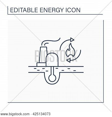 Renewable Fossil Fuels Line Icon. Heat Source. Energy Converted To Electricity. Electricity Station