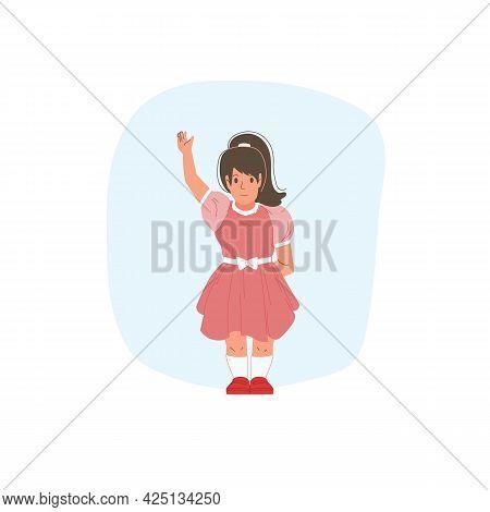 Vector Cartoon Flat Girl Character Kid Happy Greeting, Waving Hand- Childrens Fashion, Kids Clothing