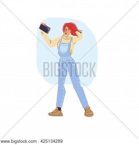 Vector Flat Cartoon Girl Character In Autumn Season Outdoor Doing Selfie - Fashion, Emotions, Health