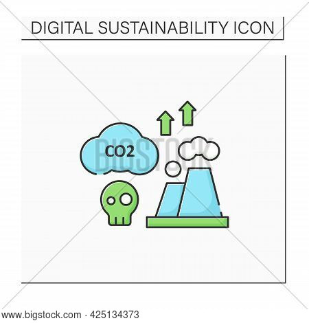 Greenhouse Gas Emission Color Icon. Fossil Fuels Combustion. Negative Impact On Environment.digital