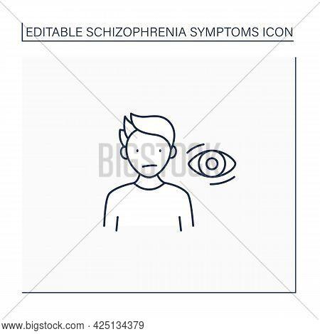 Schizophrenia Symptoms Line Icon. Flat, Expressionless Gaze. Lack Of Eye Contact. Wandering Gaze. He