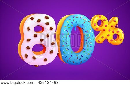 80 Percent Off. Discount Dessert Composition. 3d Mega Sale Symbol With Flying Sweet Donut Numbers. S