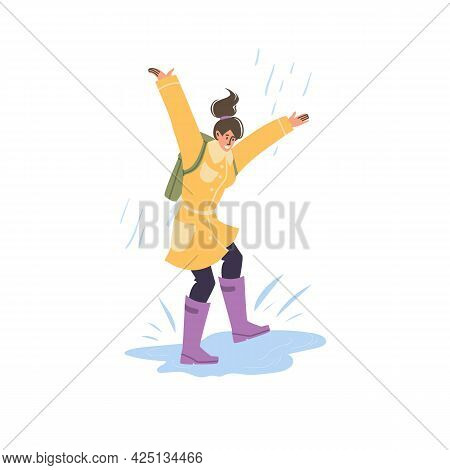 Vector Flat Cartoon Character In Autumn Season Walking Outdoor Under The Rain - Fashion, Emotions, H