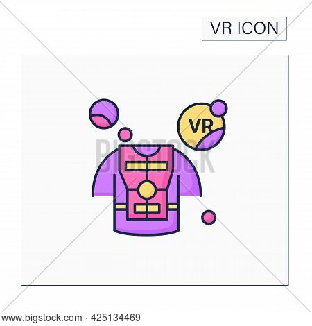 Haptic Suit Color Icon. Special Comfortable Suit To Virtual Reality Gaming. Free Movements. Virtual