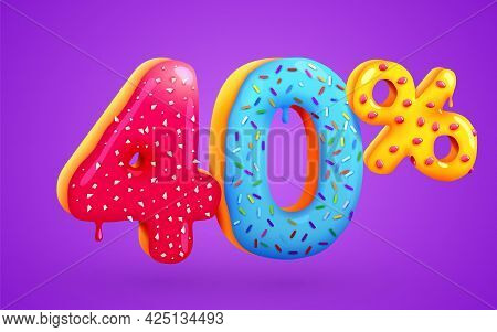40 Percent Off. Discount Dessert Composition. 3d Mega Sale Symbol With Flying Sweet Donut Numbers. S