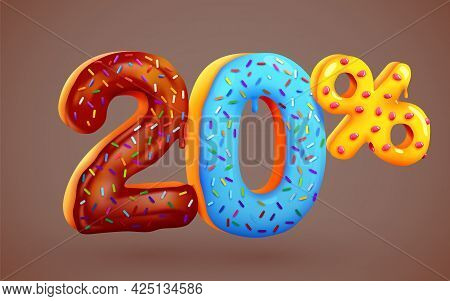 20 Percent Off. Discount Dessert Composition. 3d Mega Sale Symbol With Flying Sweet Donut Numbers. S