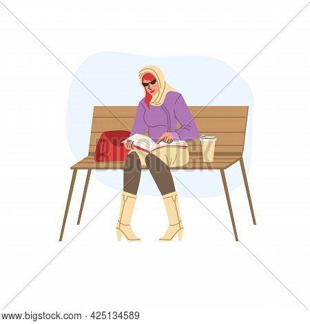 Vector Flat Cartoon Girl Character In Autumn Season Sitting On Bench, Read Book Outdoor - Fashion, E