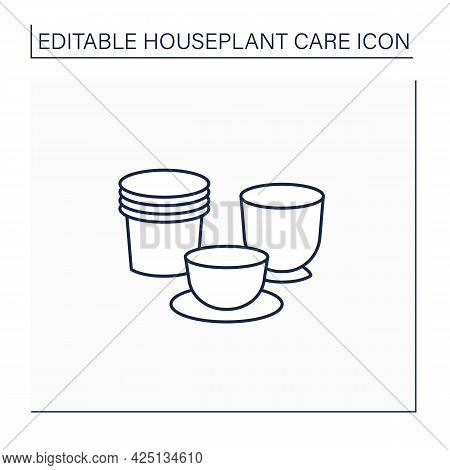 Plant Pots Line Icon. Pots Varieties For Planting Plants.home Gardening. Houseplant Care Concept.iso