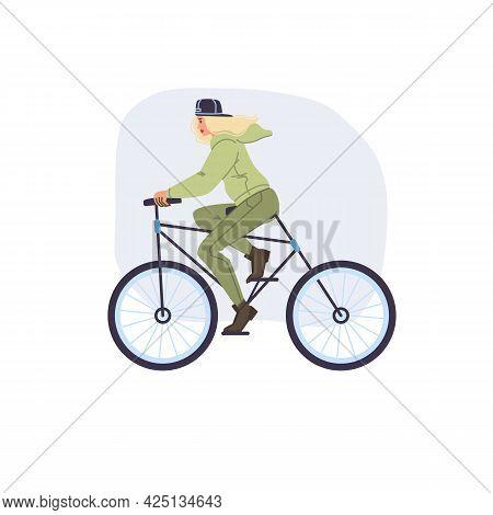 Vector Flat Cartoon Girl Character In Autumn Season Outdoor Riding Bike - Fashion, Emotions, Healthy
