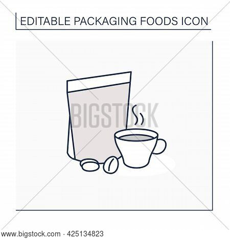 Coffee In Bags Line Icon. Individual Package. Portion Control, Protection, Tampering Resistance From