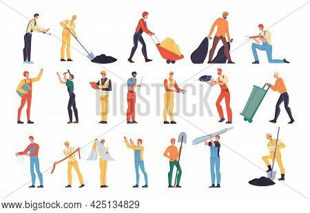 Set Of Vector Cartoon Flat Industrial Worker Characters At Work.engineer Workers At Oil Gas Producti