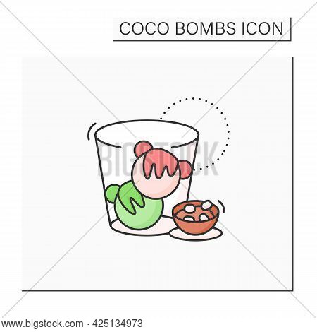 Coco Bombs Color Icon. Delicious Dessert. Cute Balls Of Chocolate With Marshmallows Filling. Bombs I