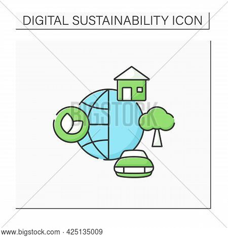 Environment Color Icon. World Around. Physical And Chemical Forces.biotic, Abiotic Things. House, Ca