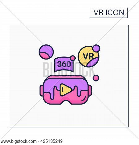 Virtual Reality Video Color Icon. Watching Real-life Video, Immerse Into Virtual Reality With High Q