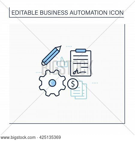 Automation Contract Management Line Icon. Streamline Admin Tasks. Reduce Businesses Overheads. Onlin
