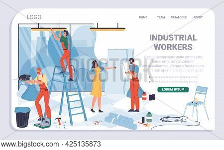 Vector Cartoon Flat Industrial Worker Characters, Office Renovation Landing Page Design.builder Work