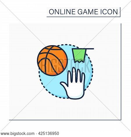 Team Sports Game Color Icon. Playing Games With Friends Online. Basketball Interactive Game. Competi