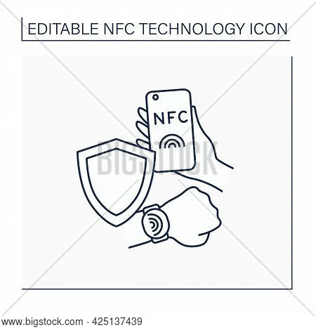 Nfc Line Icon. Safety Payment System. Contactless Security On Mobile Phone, Smart Watch. Near Field