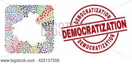 Vector Collage Altai Republic Map Of Different Symbols And Democratization Badge. Collage Altai Repu