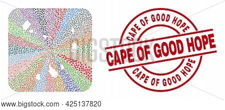 Vector Mosaic Cape Verde Islands Map Of Different Icons And Cape Of Good Hope Stamp. Mosaic Cape Ver