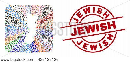 Vector Mosaic Pemba Island Map Of Different Icons And Jewish Seal. Mosaic Pemba Island Map Construct