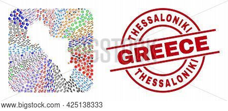 Vector Collage Andros Island Of Greece Map Of Different Pictograms And Thessaloniki Greece Seal. Col