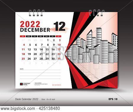 December 2022 Year, Desk Calendar 2022 Template, Printable, Planner, Wall Calendar Design, Week Star