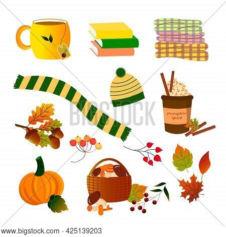 Autumn Set. Autumn Attributes - Hat And Scarf, Plaid, Tea And Coffee, Autumn Leaves And Berries, Pum