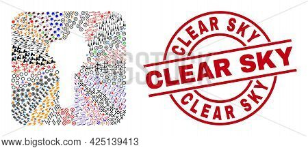 Vector Collage Benin Map Of Different Pictograms And Clear Sky Seal Stamp. Collage Benin Map Designe