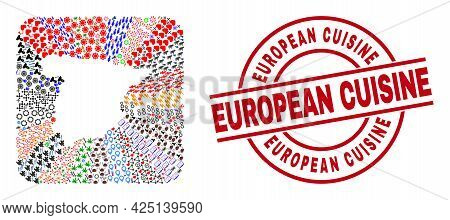 Vector Mosaic Spain Map Of Different Icons And European Cuisine Seal Stamp. Collage Spain Map Design