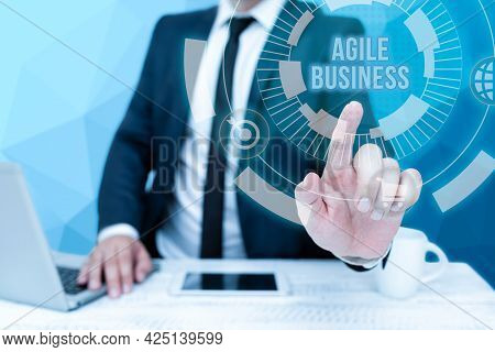 Writing Displaying Text Agile Business. Business Overview Capability Of Adjusting Quickly To The Mar