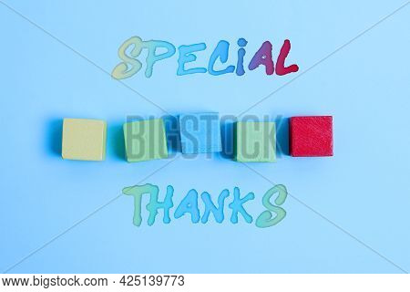 Writing Displaying Text Special Thanks. Concept Meaning Appreciating Something Or Someone In A Most