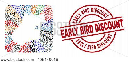 Vector Mosaic Goias State Map Of Different Icons And Early Bird Discount Stamp. Mosaic Goias State M