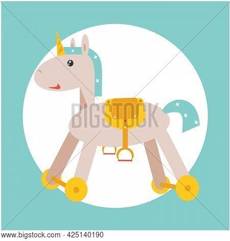 Illustration Of A Unicorn On A Blue Background. Postcard With A Unicorn. Cute Unicorn On Wheels.
