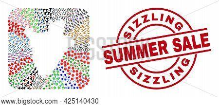 Vector Mosaic Burundi Map Of Different Icons And Sizzling Summer Sale Seal Stamp. Mosaic Burundi Map