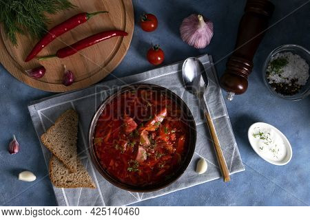Top View Of The Traditional Popular Russian Soup Borscht Made From Cabbage, Beets And Other Vegetabl
