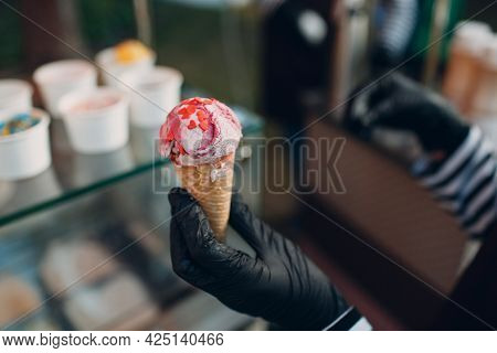 Topping Heart Shape On Cone Frozen Yogurt Or Ice Cream
