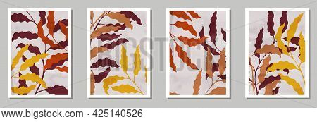 Floral Wall Art Prints Collection. Spring Twigs With Foliage. Sage