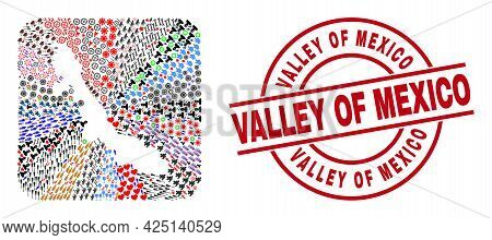 Vector Collage Veracruz State Map Of Different Icons And Valley Of Mexico Seal. Mosaic Veracruz Stat
