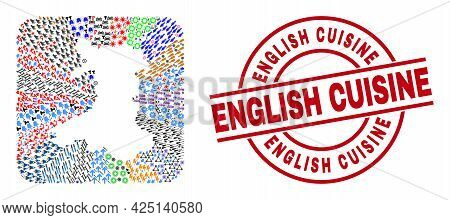 Vector Mosaic Wales Map Of Different Symbols And English Cuisine Stamp. Mosaic Wales Map Designed As