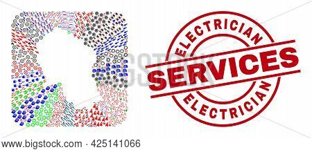 Vector Mosaic Cordoba Spanish Province Map Of Different Symbols And Electrician Services Badge. Coll