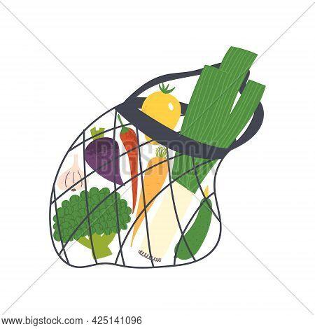 Eco Mesh Shopping Bag With Vegetables. Net Shopper For Zero Waste Concept.