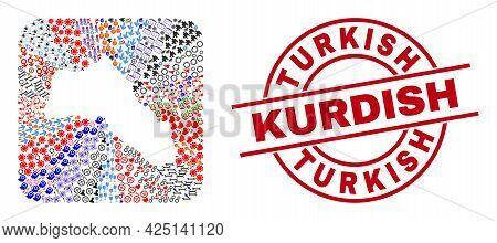 Vector Mosaic Kurdistan Map Of Different Symbols And Turkish Kurdish Seal. Collage Kurdistan Map Cre