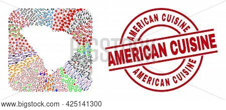 Vector Collage South Carolina State Map Of Different Icons And American Cuisine Seal Stamp. Mosaic S