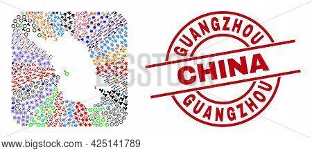 Vector Mosaic Jiangsu Province Map Of Different Symbols And Guangzhou China Badge. Mosaic Jiangsu Pr