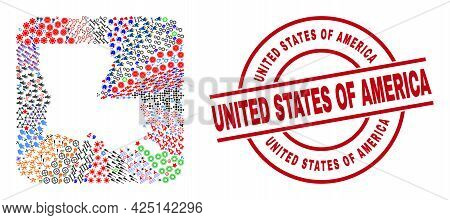 Vector Collage Louisiana State Map Of Different Pictograms And United States Of America Seal Stamp.